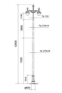 Опора контактной сети с декоративными чугунными элементами ОК-16-2-1 (ОС 3 12,8)